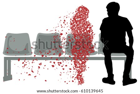 silhouette vector of sad young