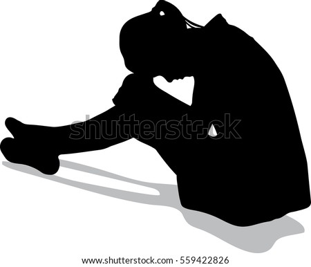silhouette vector of very sad