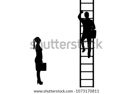 Silhouette vector of workers, a man climbs the career ladder instead of a woman. The concept of gender inequality and discrimination against women in their careers