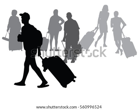 Silhouette vector of young man People Airport Terminal Travel Departure Concept