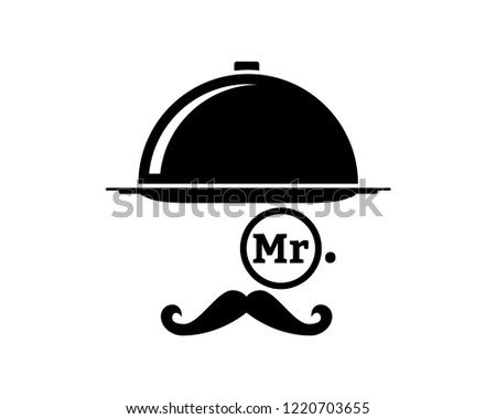 Silhouette Vector Service Mister Cloche on the Restaurant Sign Symbol Icon Logo Template Design Inspiration Сток-фото ©