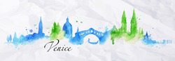 Silhouette Venice city drawing with splashes of watercolor drops landmarks in blue, green colors
