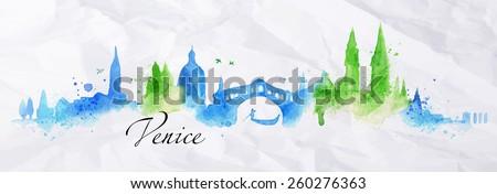 silhouette venice city painted
