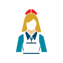 silhouette waitress, waiter girl illustration - hotel and catering vector avatar icon