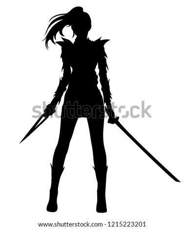 silhouette warrior woman