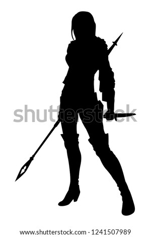 silhouette warrior woman with