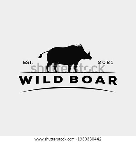 silhouette warthog pig wild boar logo vector illustration design Photo stock ©