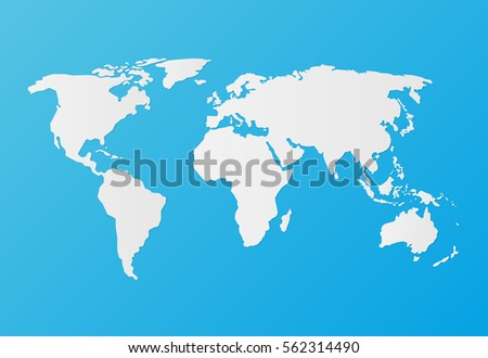 silhouette white world map on a