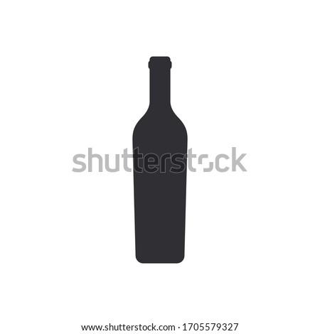 Silhouette wine bottle. Vine bottle. Silhouette сhampagne bottle. Vector icon. Stencil of wine bottle. Jar icon. Glass container. Logo template. Flask template.