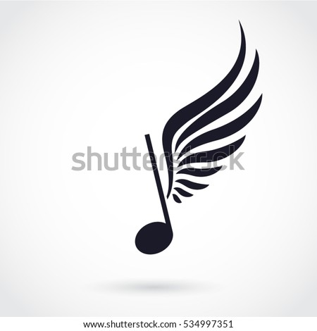 silhouette winged note music