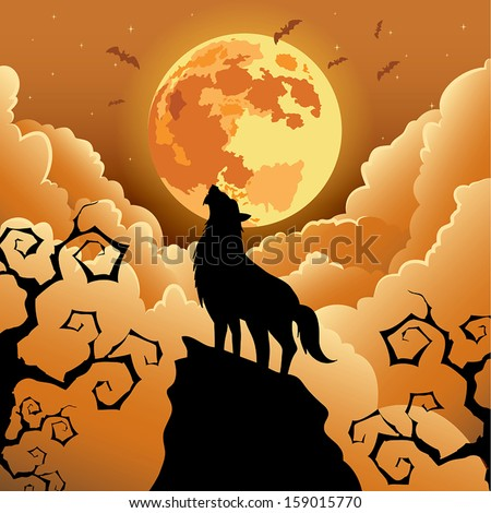 silhouette wolf howling under