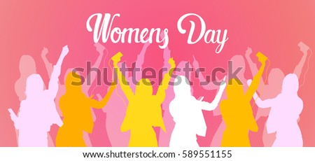 silhouette woman group dancing