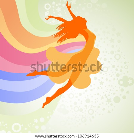silhouette  woman jumping with