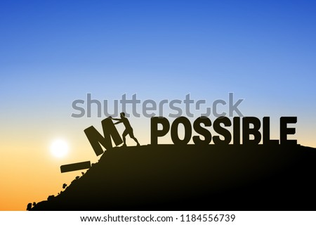 Silhouette young man change impossible to possible text on top mountain, sky and sun light background. Business, success, challenge, motivation, achievement and goal concept. Vector illustration.