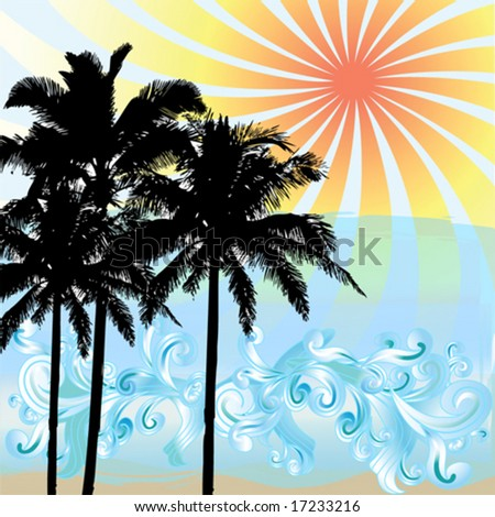 Silhouetted palm trees at sunset with waves