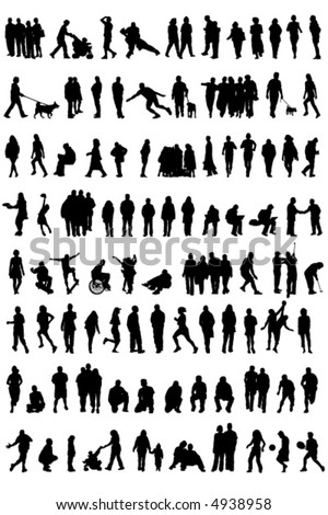 Silhouetted vectors of people [may need to manually edit each icon]
