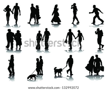 Silhouettes And Shadow Of Walking People Vector
