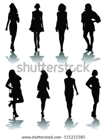Silhouettes and shadows of fashion-vector