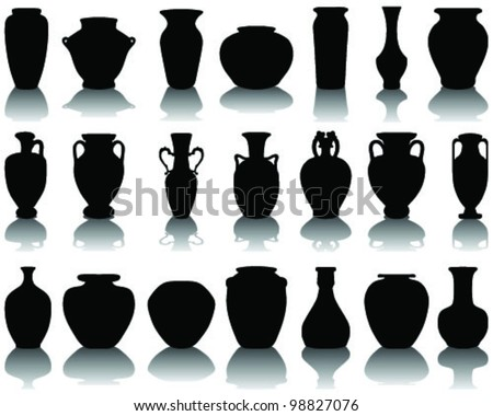 silhouettes and shadows of the vases and jars 2-vector