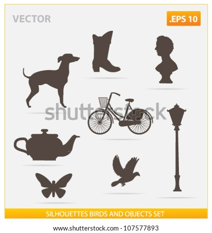 silhouettes birds and objects vector set isolated