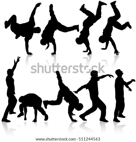 silhouettes breakdancer on a