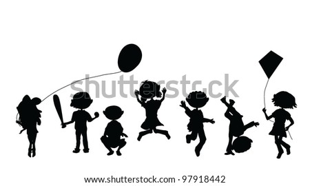 silhouettes cartoon kids for party, occasions and others - stock vector