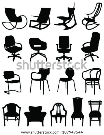 Silhouettes chairs-vector