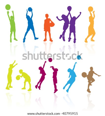 Silhouettes children kids player jumping playing basketball vector girl boy basket ball fun activity team exercise athletic recreation art fitness athlete color colored sport group young teen teenager