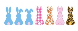Silhouettes collection of Rabbits . Bunny ears, Leopard, buffalo plaid, polka dots, carrot pattern. Vector clipart. Easter design elements.