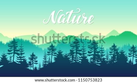 silhouettes coniferous forest