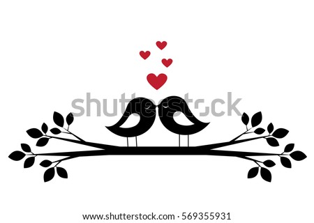 silhouettes cute birds kiss and