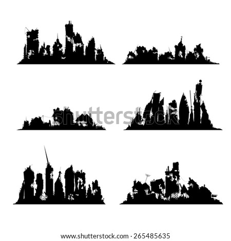 silhouettes destroyed cities