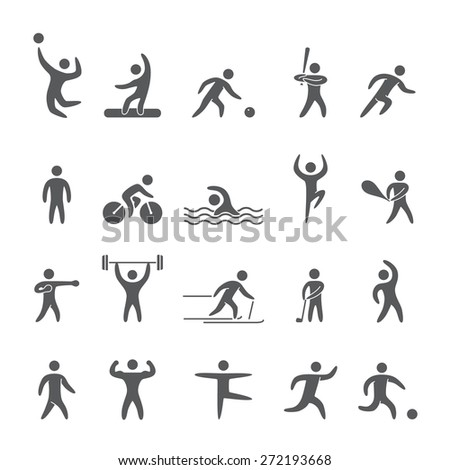Silhouettes figures of athletes popular sports
