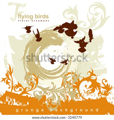 Silhouettes flying birds on a grunge background - stock vector