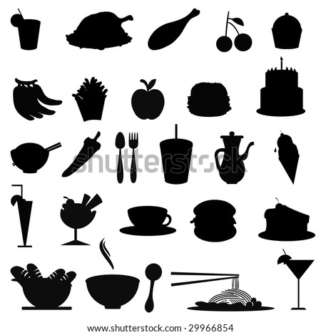 silhouettes food icons