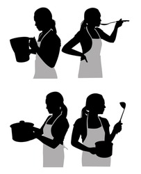 silhouettes housewife in the kitchen