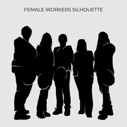 Silhouettes image vector of female workers. Builder element for Labour day design concept for poster, business advertising, backdrop, banner. Eps 10