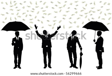 Silhouettes of a businessman standing under money rain.