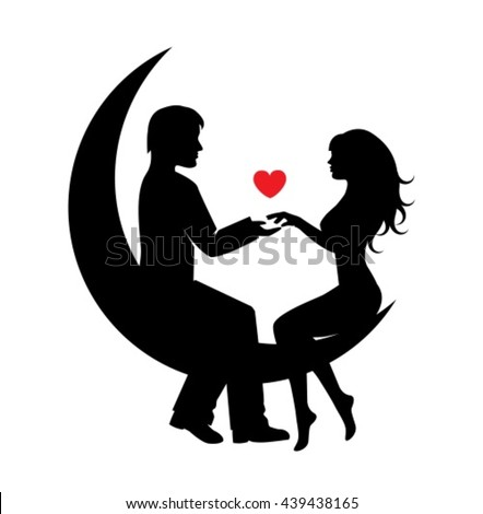 silhouettes of a couple in love