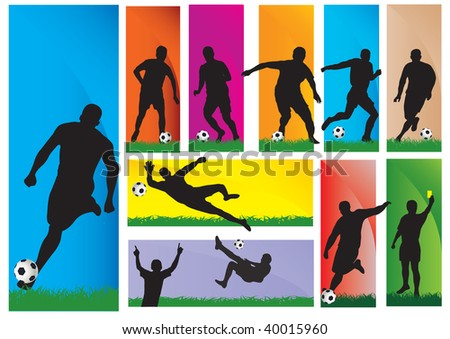 Silhouettes of a football players. Vector illustration