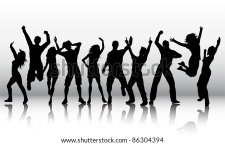 Silhouettes of a group of party people