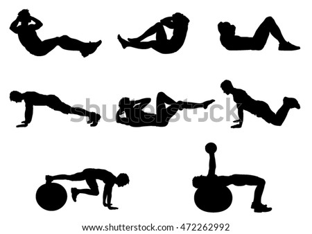 Silhouettes of a People who Training - Vector Image.