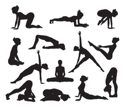 Silhouettes of a woman doing yoga exercises. High quality and high detail