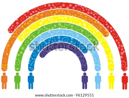 silhouettes of abstract peoples and colorful rainbow