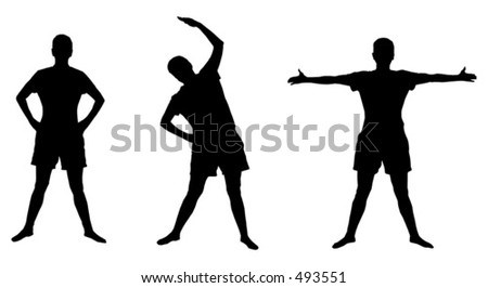 Silhouettes of active poses