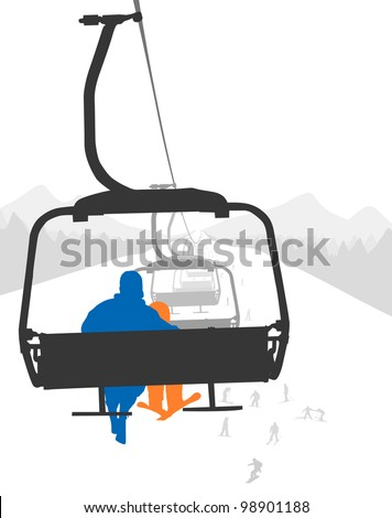 Silhouettes of adult and kid skier riding ski lift . Vector