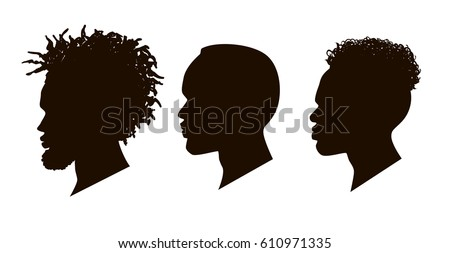 Silhouettes of African American. Men profile silhouettes.The contour of hair.