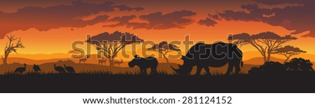 silhouettes of african wild