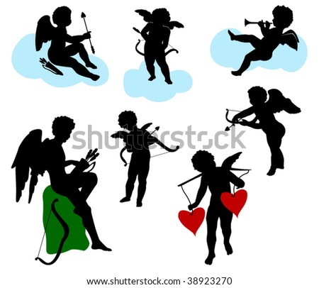 Silhouettes of angels, cherubs and cupids