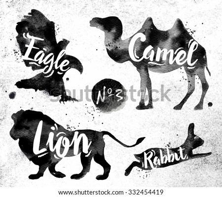 silhouettes of animal camel